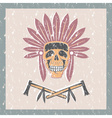 grunge Native American chief skull in tribal vector image