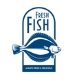Fresh flounder retro symbol for fish market design vector image