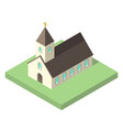beautiful small isometric church vector image
