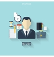Business flat background with papersTemwork vector image