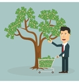 Businessman plucking money from tree - vector image