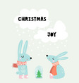 cute winter greeting background with rabbits vector image