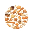 Food bread rye wheat whole grain bagel sliced vector image