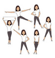 girl in white shorts and a pink t-shirt vector image