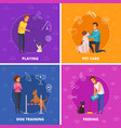people with pets 2x2 cartoon square icons vector image