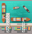 sea dock or cargo seaport with floating ships and vector image