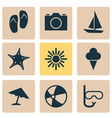 season icons set collection of video tube ship vector image