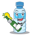 with beer bottle character cartoon style vector image