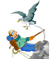 climber and eagle vector image vector image