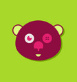 flat icon design teddy bear face in sticker style vector image vector image