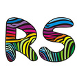 Background skin zebra shaped letter R S vector image
