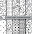 cartoon animal seamless patterns vector image
