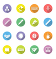 colorful flat icon set 8 on circle with long shado vector image