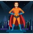 man in superhero costume watching over night city vector image