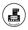Taxi meter with receipt icon vector image