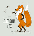 cartoon cheerful fox vector image