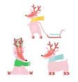 cartoon winter deers set holiday clipart cute vector image