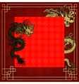 frame red dragon gold-colored sticker 5 vector image