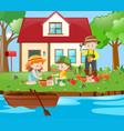 gardener and kids planting trees in garden vector image