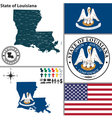 Map of Louisiana with seal vector image