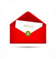 Red Envelope letter Merry Christmas white card vector image