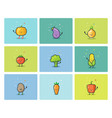 Set of flat vegetable icons cute cartoon vector image