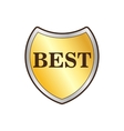 Gold shield with the word Best icon flat style vector image