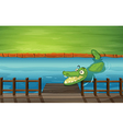 Cartoon River Crocodile vector image