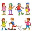 set of happy cartoon kids vector image vector image