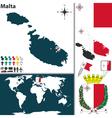 Malta map vector image vector image