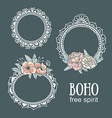 Ornamental Boho Style Frames and elements vector image