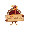 Turkey Holding a Board with Greeting on vector image