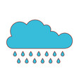 cloud with rain in colorful silhouette vector image