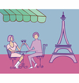 Couple in Paris drinking vector image