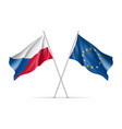 czech republic and european union waving flags vector image