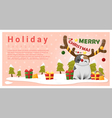 Merry Christmas Greeting background with cat vector image