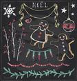 Vintage Christmas Chalkboard Hand Drawn Set 6 vector image