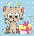 greeting card cute kitten with gift vector image