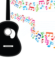 colorful note floating from guitar vector image