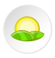 Hill and sun icon cartoon style vector image