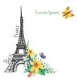 Paris spring cardEiffel towerWatercolor flowers vector image