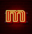 neon city font letter m signboard vector image