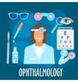 Optometrist profession and eye examination symbol vector image