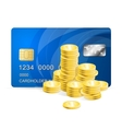 Plastic card and coins vector image