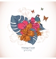 Vintage Greeting Card Tropical Flowers Butterfly vector image