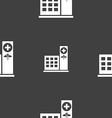 Hospital icon sign Seamless pattern on a gray vector image