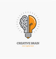 logo with a half of light bulb and brain vector image