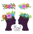 Floral wreath on the heads vector image