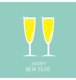 Champagne glasses with sparkles Greeting Card Flat vector image