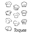 Chef and baker isolated toques silhouettes vector image